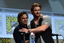 Actors Mark Ruffalo and Chris Hemsworth, who play Hulk and Tgor respectively, onstage at Marvel's Hall H Panel for 'Avengers: Age Of Ultron' during Comic-Con International 2014 on July 26, 2014 in San Diego, California.