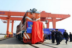 The inauguration ceremony of China-Europe Block Train (Yiwu-Madrid) at Yiwu Railway Freight Station.