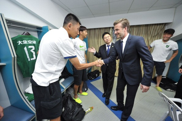 David Beckham visits the locker room of Hangzhou Greentown who play in the Chinese Super League.