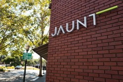 Logo of VR company Jaunt at its headquarters in the Silicon Valley town of Palo Alto, California.