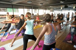 A general view of atmosphere of Move Interactive x CorePower Yoga Class In Hollywood hosted by Julianne Hough and Derek Hough