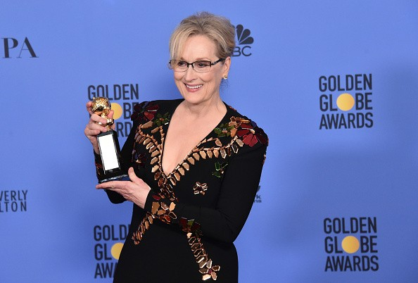 Meryl Streep poses in the press room during the 74th Annual Golden Globe Awards at The Beverly Hilton Hotel on Jan. 8, 2017 in Beverly Hills, California.