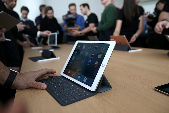 The new 9.7' iPad Pro is displayed during an Apple special event