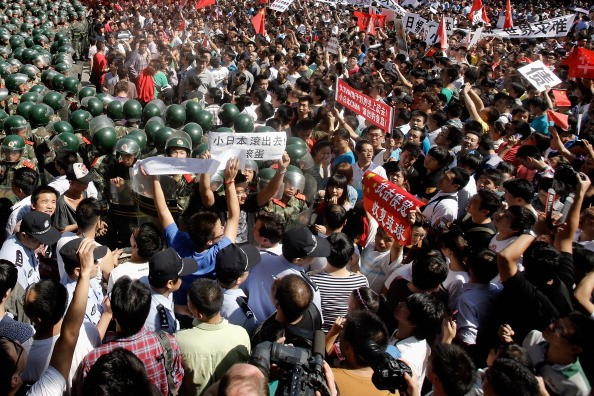 Chinese protestors stage an anti Japan rally outside the Japan Embassy on Sept. 15, 2012, in Beijing, China.