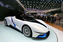 A BAIC Motor Arcfox-7 concept electric vehicle is on display at the 2016 Beijing International Automotive Exhibition.
