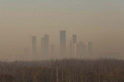 Beijing is enveloped in smog.