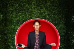Lindy Klim poses inside a meditation pod in Martin Place during the Virgin Mobile and Smiling Mind partnership launch