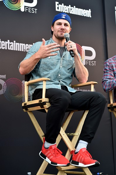 "Actor Stephen Amell speaks onstage during the ""CW Superheroes"" panel at Entertainment Weekly's PopFest at The Reef on October 29, 2016 in Los Angeles, California."