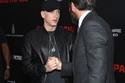 Eminem and Jake Gyllenhall attend the 'Southpaw' New York Premiere at AMC Loews Lincoln Square on July 20, 2015 in New York City
