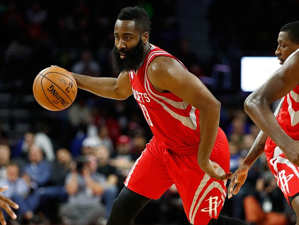James Harden of the Houston Rockets plays against the Detroit Pistons at the Palace of Auburn Hills on November 21, 2016 in Auburn Hills, Michigan.