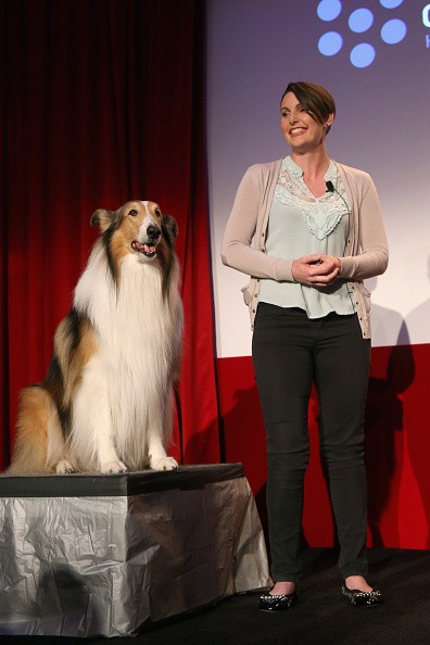 Lassie (L) and animal trainer Chelsea Riggins speak onstage at Man's Best Friend: Dogs in Film panel during day 2 of the TCM Classic Film Festival 2016