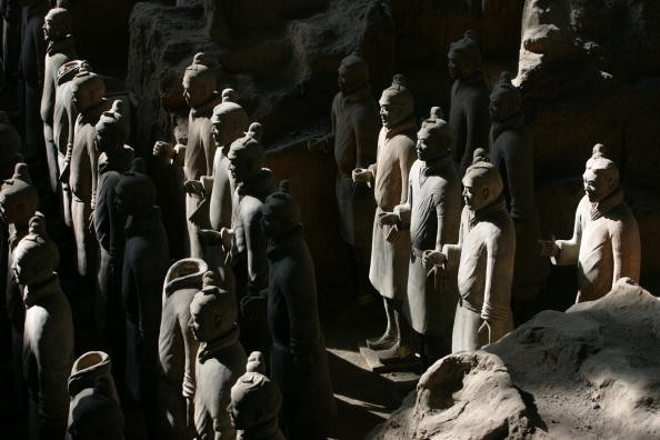 Ancient terracotta soldiers are seen in the No.1 pit of the Qin Terracotta Warriors and Horses Museum on October 24, 2007 in Lintong of Shaanxi Province, China.