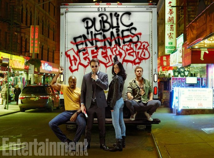 The Defenders Netflix series starring Charlie Cox, Krysten Ritter, Mike Colter and Finn Jones.