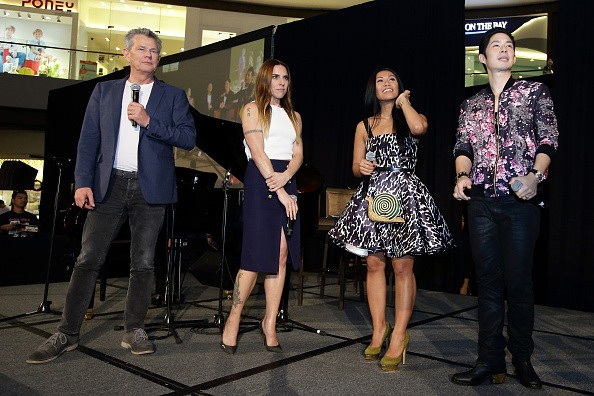 (L-R) Canadian songwriter and producer, David Foster, English singer and former Spice Girl, Melanie Chisholm, Indonesian-born French singer and songwriter Anggun Cipta Sasmi and Taiwanese-American pop idol, Van Ness Wu attend the Asia's Got Talent showcas