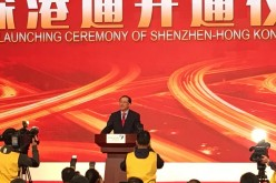 Liu Shiyu, chairman of the China Securities Regulatory Commission, speaks during the launching ceremony of Shenzhen-Hong Kong Stock Connect at Shenzhen Stock Exchange on Dec. 5, 2016.