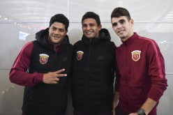 Oscar (far right) joins Hulk (left) and Elkeson as imports for Chinese Super League club Shanghai SIPG.
