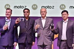 (Left to Right) Jim Thiede, Head of Global Product Marketing, Mobile Business Group, Lenovo, Sudhin Mathur, Executive Director, Lenovo Mobile Business Group India, Aymar de Lencquesaing, SVP and Co-President, Mobile Business Group, Lenovo, Chairman and Pr