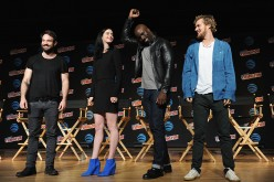 (L-R)  'The Defenders' actors Charlie Cox, Krysten Ritter, Mike Colter and Finn Jones at the New York Comic-Con 2016.