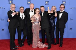 The cast and creators of 'The Crown' pose during the 74th Annual Golden Globe Awards at The Beverly Hilton Hotel on January 8, 2017 in Beverly Hills, California.