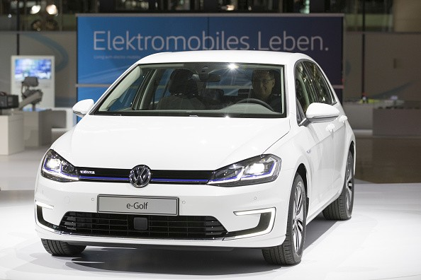 The new VW e-Golf electric automobile, manufactured by Volkswagen AG (VW), is unveiled at the automaker's factory in Dresden, Germany, on Nov. 17, 2016.
