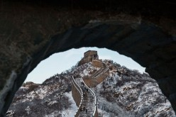 Snow is seen on the Great Wall after a snowfall on Nov. 23, 2015, near Beijing, China.