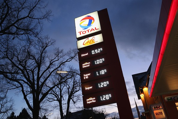 A Total petrol station displays its prices that have fallen markedly in recent weeks on Jan. 20, 2018 in Berlin, Germany.