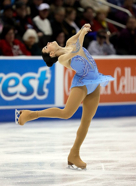 A figure skater executes her spin at the U.S. 2017 Championship.
