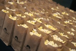 Free popcorn at a movie screening