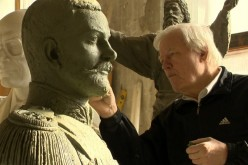 The Midas touch: Albert Charkin working on a bust of Grand Duke Alexander Mikhailovich of Russia in 2012. The bust can be seen at St. Petersburg River Yacht Club.