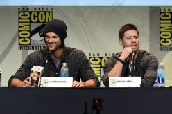 Jared Padalecki (L) and Jensen Ackles speak onstage at the 'Supernatural' panel during Comic-Con International 2015 at the San Diego Convention Center on July 12, 2015 in San Diego, California.