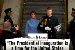 First lady Melania Trump arriving at Donald Trump's inaugral ceremony