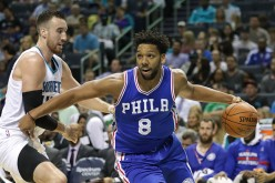 Jahlil Okafor of the Philadelphia 76ers drives to the basket against Frank Kaminsky III of the Charlotte Hornets during their game at Spectrum Center on November 2, 2016 in Charlotte, North Carolina.