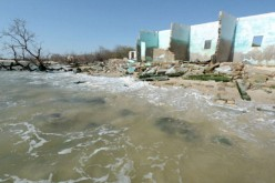Effects of sea level rise on a village in Senegal.