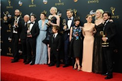 Actors Rory McCann, Conleth Hill, Iwan Rheon, Gwendoline Christie, Peter Dinklage, Nikolaj Coster-Waldau, Maisie Williams, Emilia Clarke, Sophie Turner and Kit Harington, winners of Best Drama Series for 'Game of Thrones', pose in the press room at the 68