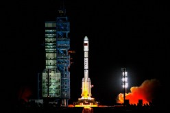 The Gaofen-3 satellite was launched into space via a Long March similar to the one pictured here at the Jiuquan Satellite Launch Center on Sept. 29, 2011.