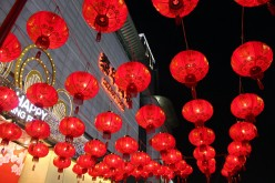 Red lanterns are hung high to celebrate the Lantern Festival on Feb. 17, 2016 in Suzhou, Jiangsu Province of China.