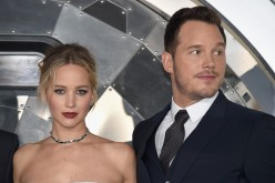 Jennifer Lawrence (L) and Chris Pratt attend the premiere of Columbia Pictures'