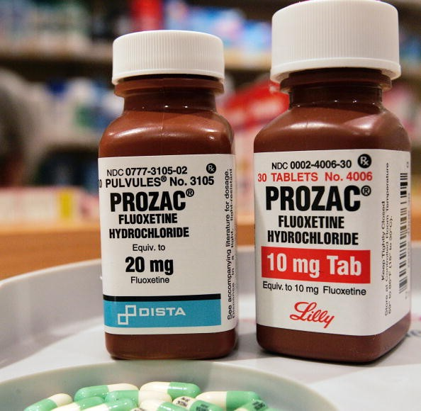 Two bottles of Prozac are seen on a pharmacy shelf on Jan. 4, 2005 in New York City.