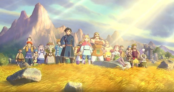 """Ni no Kuni II: Revenant Kingdom"" protagonist Evan and his friends look at the plains where they will build their new kingdom together."