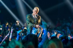 'Rap God' rapper Eminem performs onstage at the 2014 MTV Movie Awards at Nokia Theatre L.A. Live on April 13, 2014 in Los Angeles, California.