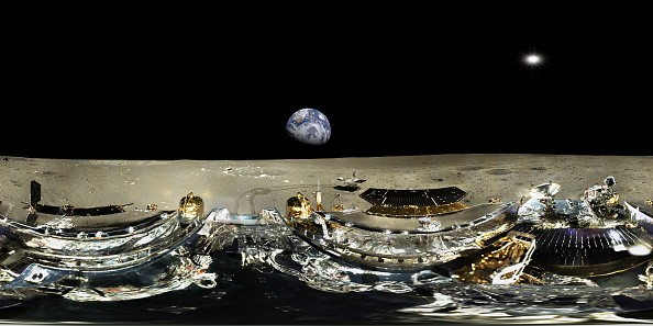 Panorama from the Chang'e 3 lunar exploration mission by the China National Space Administration incorporating a robotic lander and China's first lunar rover on the moon.