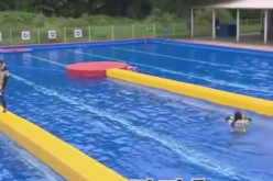 South Korean variety show 'Running Man' episode 304 is held in a swimming pool.