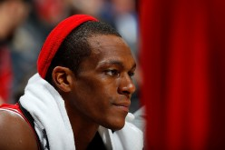 Rajon Rondo of the Chicago Bulls looks on from the bench in the final minutes of their 115-107 loss to the Atlanta Hawks at Philips Arena on November 9, 2016 in Atlanta, Georgia.