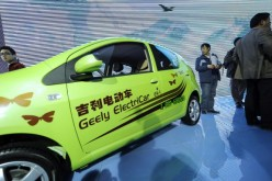 A Chinese-made Geely electric car is on display at the Beijing Auto Show near the capital's airport on April 26, 2010.