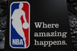 The NBA logo after a game between the Dallas Mavericks and the San Antonio Spurs in Game One of the Western Conference Quarterfinals during the 2009 NBA Playoffs at AT&T Center on April 18, 2009 in San Antonio, Texas.