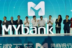 Jack Ma (6th, left), chairman of Alibaba Group Holding Ltd., attends the opening ceremony of Alibaba-backed Internet bank MYbank in Hangzhou, China.