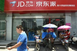 Walmart supermarket entrance promoting JD.com in Hangzhou, Zhejiang Province of China.