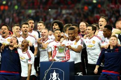 Manchester United celebrate their FA Cup final triumph against Crystal Palace last May 21, 2016.
