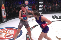 Jessica Middleton lands a clean punch against Alice Yauger during their encounter at Bellator 171 last Jan. 27.