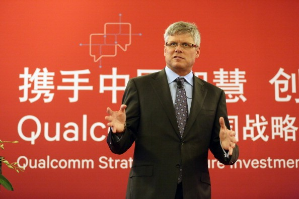 """Qualcomm CEO Steve Mollenkopf attends the """"Qualcomm Strategic Venture Investment in China"""" press conference."""